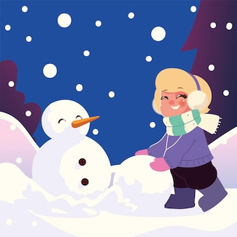 Cute little girl with snowball making snowman in winter scene vector illustration