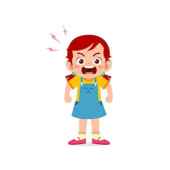 Cute little kid girl stand and show angry pose wypowiedzi