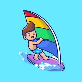 Cute ludzi grających na windsurfingu ikona ilustracja kreskówka. ludzie sport ikona koncepcja białym tle premium. płaski styl kreskówki