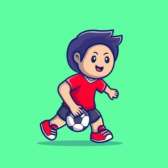 Cute ludzi grających w piłkę ręczną ikona ilustracja kreskówka. ludzie sport ikona koncepcja białym tle premium. płaski styl kreskówki