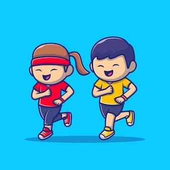 Cute ludzi jogging ikona ilustracja kreskówka. ludzie sport ikona koncepcja białym tle premium. płaski styl kreskówki