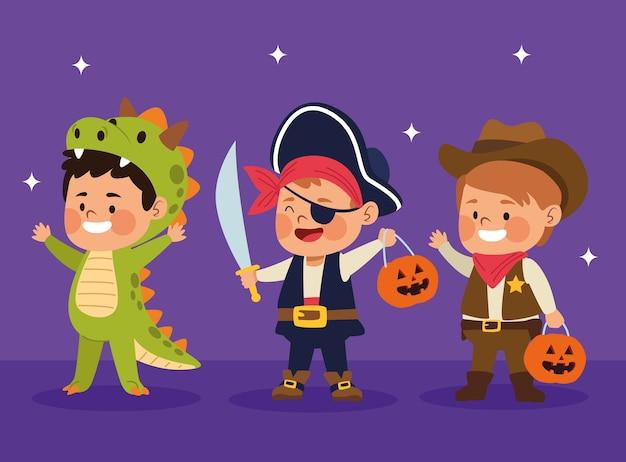 Cute mali chłopcy ubrani jak różne znaki wektor ilustracja projekt