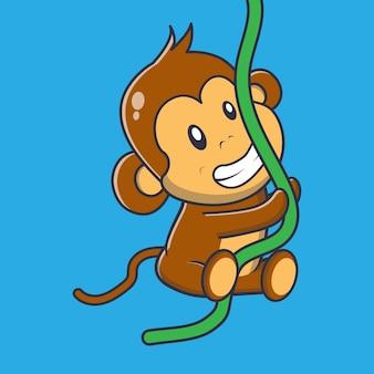 Cute małpa powiesić ilustracja kreskówka