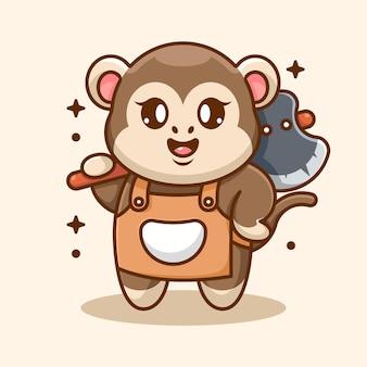 Cute małpa trzyma kreskówka topór