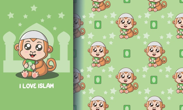 Cute małpa trzyma książkę. zestaw ilustracji i wzorów