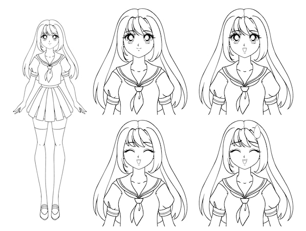 Cute manga dziewczyna ubrana w japoński mundurek szkolny. zestaw czterech różnych wyrażeń. smutny, szczęśliwy, zły, przestraszony. ręcznie rysowane ilustracji. pojedynczo na białym tle.
