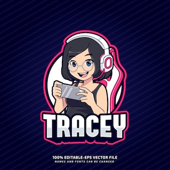 Cute maniakiem gamer girl esport maskotka logo