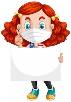 Cute młoda dziewczyna postać z kreskówki z tabliczką
