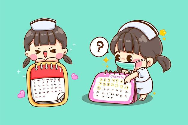 Cute młoda pielęgniarka, wskazując na kalendarz, aby umówić się na wizytę na białym tle