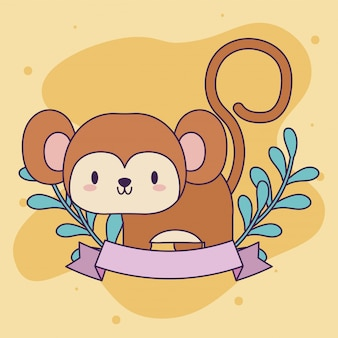 Cute monkey baby animal kawaii z wystrojem