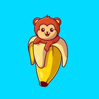 Cute monkey banana ikona ilustracja kreskówka.