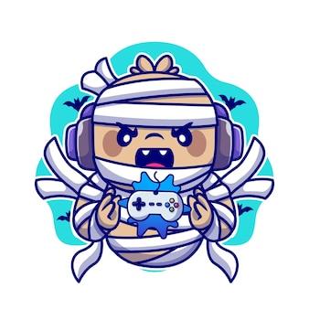 Cute mumia postać z kreskówki do gier. technologia halloween na białym tle.