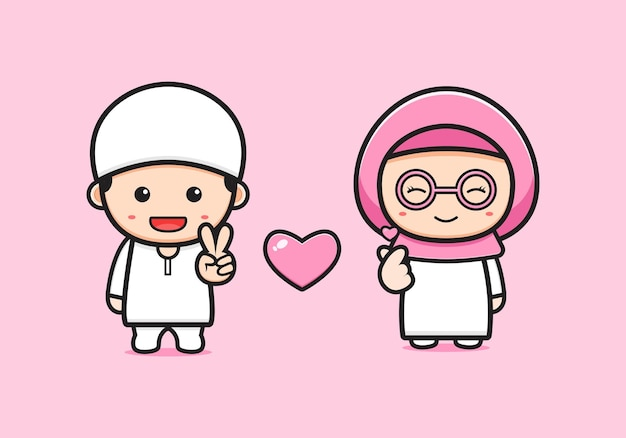 Cute muzułmańskiej pary ikona ilustracja kreskówka. zaprojektuj na białym tle płaski styl kreskówki