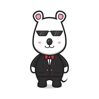 Cute myszy jako ochroniarz ikona ilustracja kreskówka wektor. projekt na białym tle stylu cartoon płaskie.