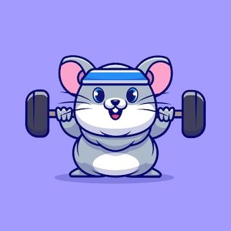 Cute myszy podnoszenia sztangi ikona ilustracja kreskówka. koncepcja ikona sportu zwierząt na białym tle. płaski styl kreskówki