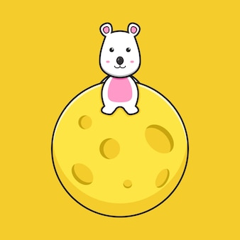 Cute myszy siedzieć na ser planeta kreskówka wektor ikona ilustracja. projekt na białym tle stylu cartoon płaskie.