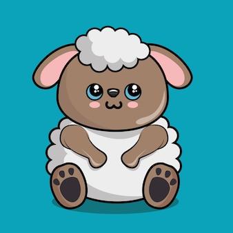 Cute owiec charakter kawaii stylu