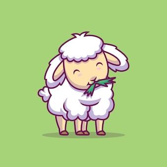 Cute owiec jedzenie ilustracja kreskówka