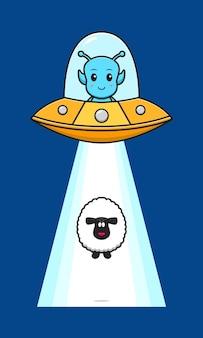 Cute owiec wciągniętych przez obce ufo kreskówka ikona ilustracja. zaprojektuj na białym tle płaski styl kreskówki