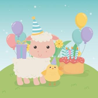 Cute owiec zwierząt gospodarskich w scenie przyjęcie urodzinowe