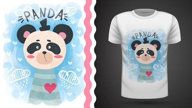 Cute panda akwarela - pomysł na t-shirt z nadrukiem