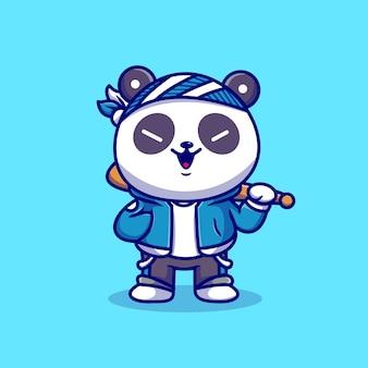 Cute panda boy z kijem baseballowym kreskówka wektor ikona ilustracja. zwierzę sport ikona koncepcja białym tle premium wektor. płaski styl kreskówki