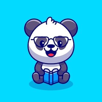 Cute panda czytanie książki ikona ilustracja kreskówka.