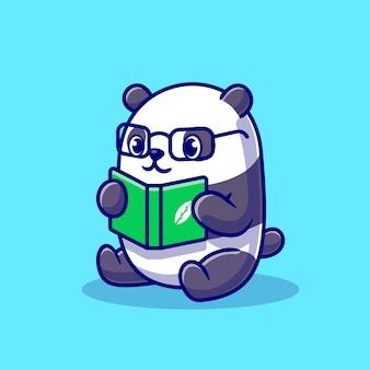 Cute panda czytanie książki kreskówka