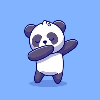 Cute panda dabbing ikona ilustracja kreskówka. koncepcja ikony przyrody zwierząt premium. płaski styl kreskówki