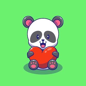 Cute panda gospodarstwa ilustracja miłość serca. panda maskotka kreskówka znaków zwierzęta ikona koncepcja na białym tle.