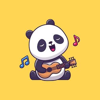 Cute panda gra na gitarze
