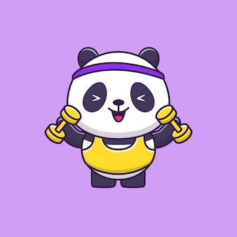 Cute panda gym animal sport