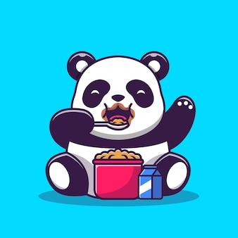 Cute panda jedzenie zbóż i mleka śniadanie kreskówka wektor ilustracja. wektor na białym tle koncepcja karmy dla zwierząt. płaski styl kreskówki