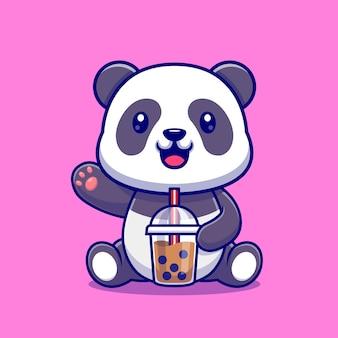Cute panda pić herbaty mleka boba kreskówka wektor ikona ilustracja. koncepcja ikona napój zwierząt na białym tle premium wektor. płaski styl kreskówki