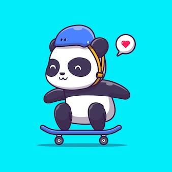 Cute panda play deskorolka ilustracja. sport zwierząt. płaski styl kreskówek
