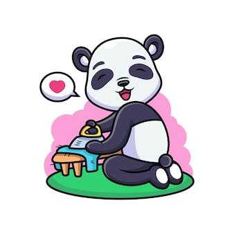 Cute panda prasowanie ubrania kreskówka. ilustracja ikony zwierząt, na białym tle