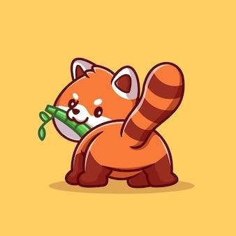 Cute panda red jedzenie bambusa kreskówka wektor ikona ilustracja. zwierzęca natura ikona koncepcja białym tle premium wektor. płaski styl kreskówki