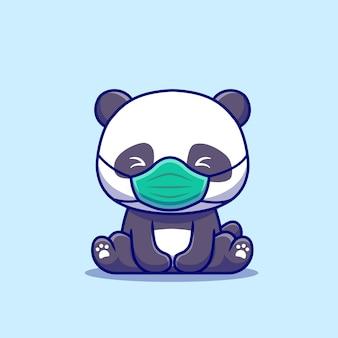 Cute panda siedzi i noszenie maski ikona ilustracja kreskówka. koncepcja ikona zdrowych zwierząt na białym tle. płaski styl kreskówki