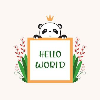 Cute panda trzymaj pozdrowienia banner