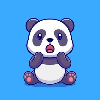 Cute panda zaskoczony ikona ilustracja kreskówka wektor. zwierzęca natura ikona koncepcja białym tle premium wektor. płaski styl kreskówki