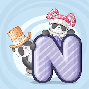 Cute panda zwierząt list alfabet wektor