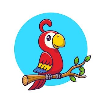 Cute papuga ptak na gałęzi kreskówki. koncepcja ikona dzikiej przyrody zwierząt na białym tle. płaski styl kreskówki