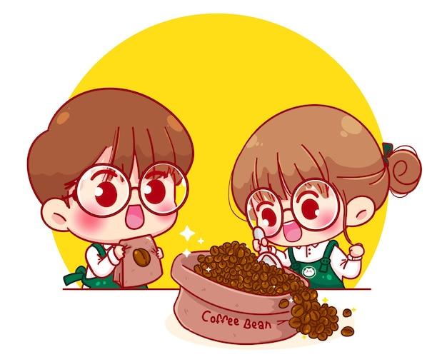 Cute para barista w fartuch czerpać ziarna kawy postać z kreskówki ilustracja