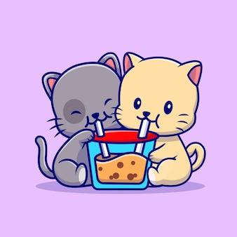 Cute para kot pić boba mleko herbata ilustracja kreskówka. koncepcja napoju zwierząt na białym tle. płaski styl kreskówki