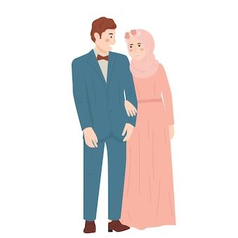 Cute para młody mężczyzna i kobieta kreskówka