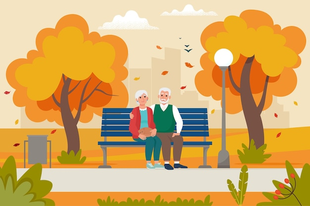 Cute para starszych siedzi na ławce w parku jesienią. ilustracja wektorowa w stylu płaski