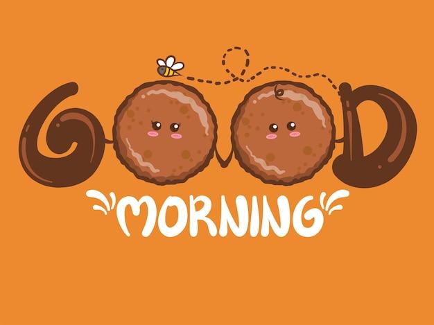 Cute para szynka z grilla koncepcja dzień dobry. postać z kreskówki i ilustracja.