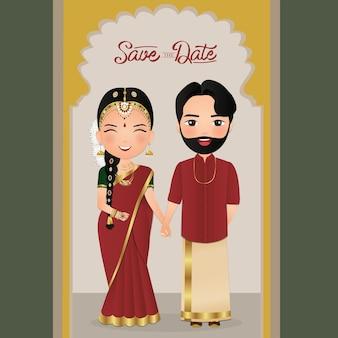 Cute para w tradycyjnej indyjskiej sukni postać z kreskówki. karta zaproszenie na romantyczny ślub