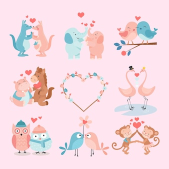 Cute para wektor zestaw zwierząt