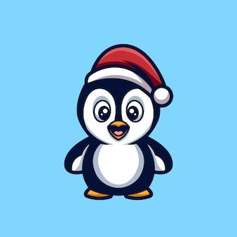 Cute penguin boże narodzenie kreatywny cartoon charakter maskotka logo